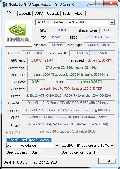 NVIDIA R304.79 + GTX 680 + GPU Caps Viewer