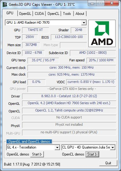 AMD Catalyst 12.8, GPU Caps Viewer + MSI Radeon HD 7970