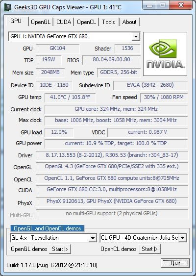OpenGL 4.3 and GPU Caps Viewer