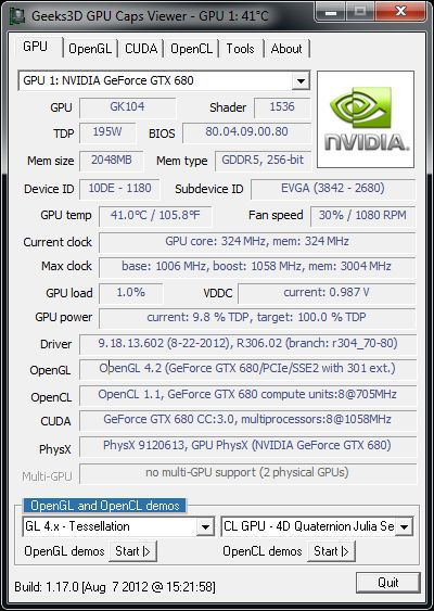 NVIDIA R306.02 + GTX 680 + GPU Caps Viewer + Win7