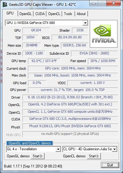 GPU Caps Viewer + GeForce GTX 680