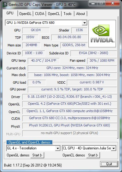 GPU Caps Viewer, NVIDIA R306.97