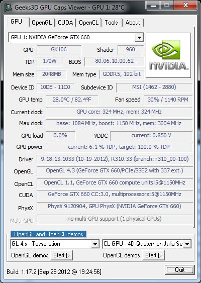 NVIDIA R310.33 GeForce driver - GPU Caps Viewer