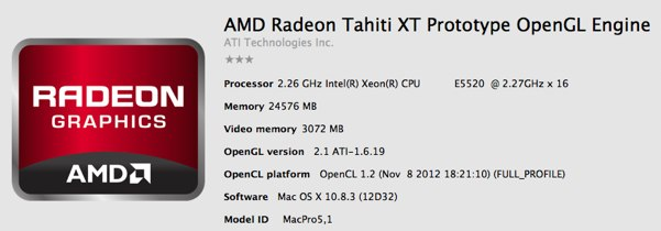 The Radeon HD 7970 in OSX 10.8.3