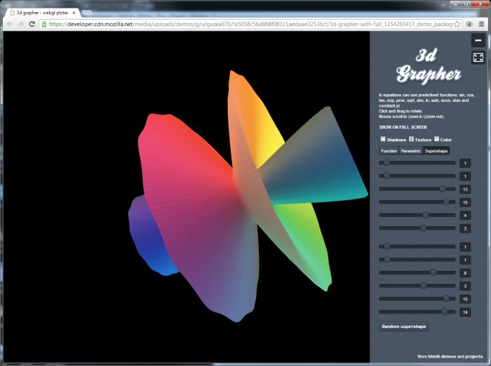 3D Grapher: a WebGL App to Draw 3D Surfaces