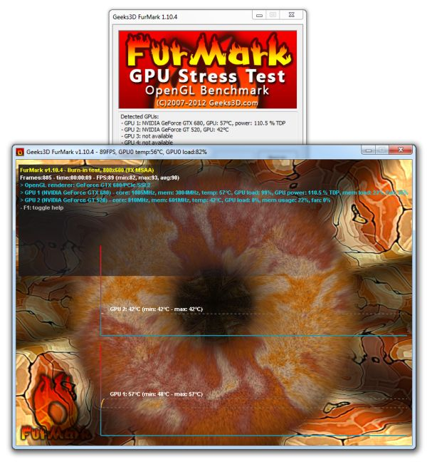 FurMark, GPU stress test, burn-in utility