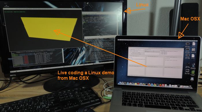 GLSL Hacker, Live-coding a linux box from a Mac box