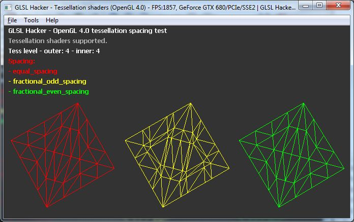 GLSL Hacker, OpenGL 4 tessellation spacing demo