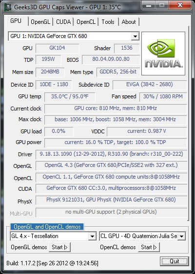 NVIDIA R310.90 + GPU Caps Viewer