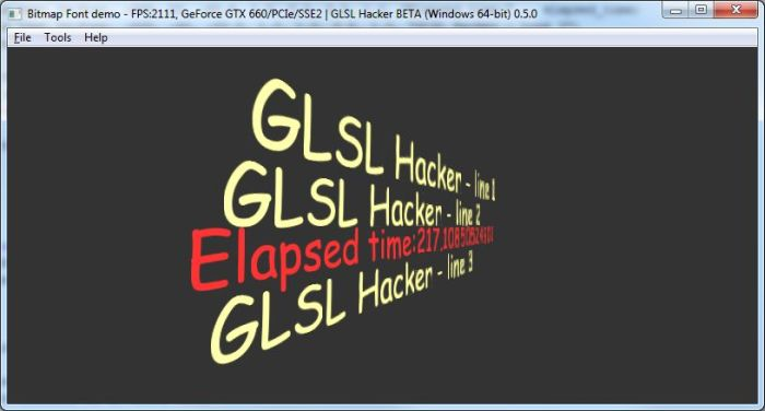 GLSL Hacker - bitmap font test