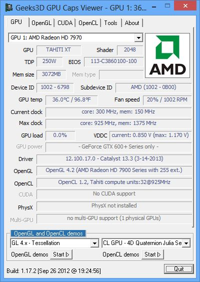 AMD Catalyst 13.3, GPU Caps Viewer + Radeon HD 7970