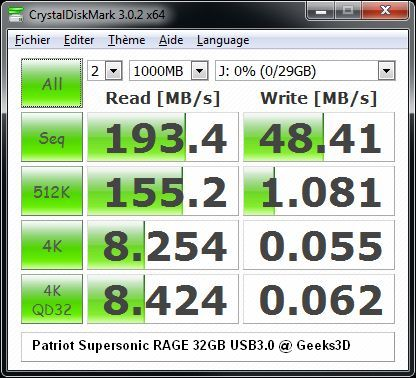 Patriot Supersonic RAGE 32GB USB 3.0 Flash Drive - CrystalDiskMark test