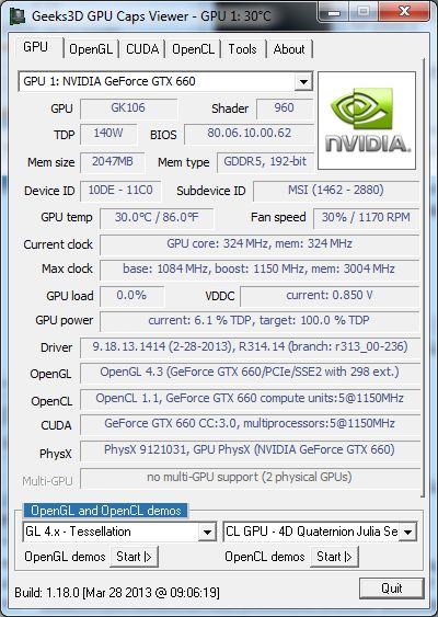 GPU Caps Viewer 1.18.0 + GeForce GTX 660