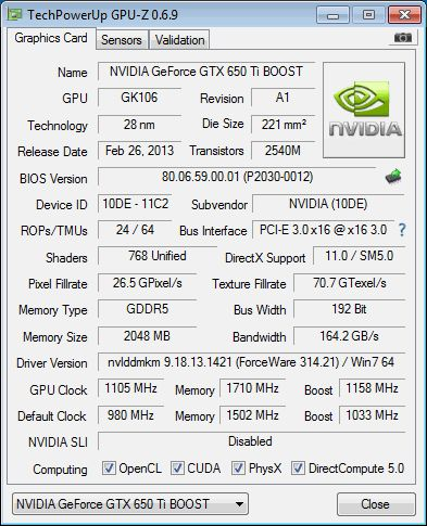 NVIDIA GeForce GTX 650 Ti Boost, GPU-Z