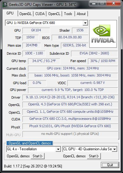 R314.14 + GPU Caps Viewer + GTX 680