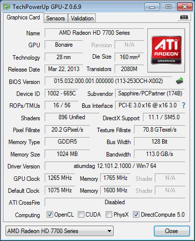 AMD Radeon HD 7790, GPU-Z