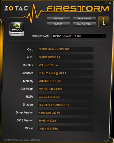 Zotac FireStorm Graphics Card Overclocking Utility