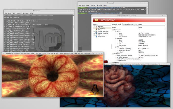 GpuTest 0.4.0: TessMark + FurMark under Linux