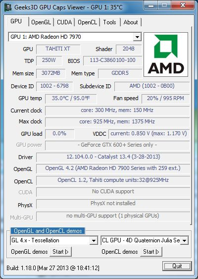 AMD Catalyst 13.4 WHQL, + Radeon HD 7970 + GPU Caps Viewer