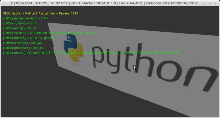GLSL Hacker - Python 2.7 plugin test under Linux