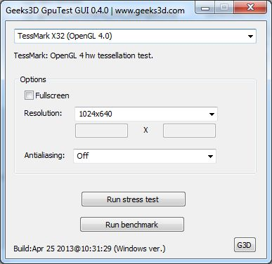 GpuTest 0.4.0 user's interface under Windows