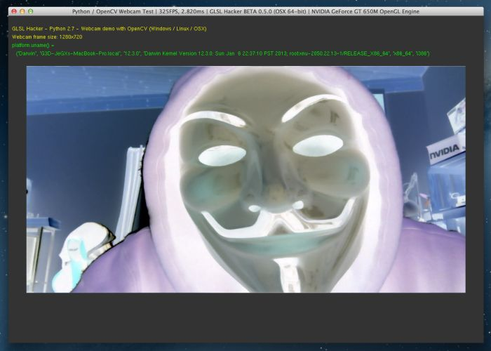 GLSL Hacker - Python + OpenCV + webcam test under OS X