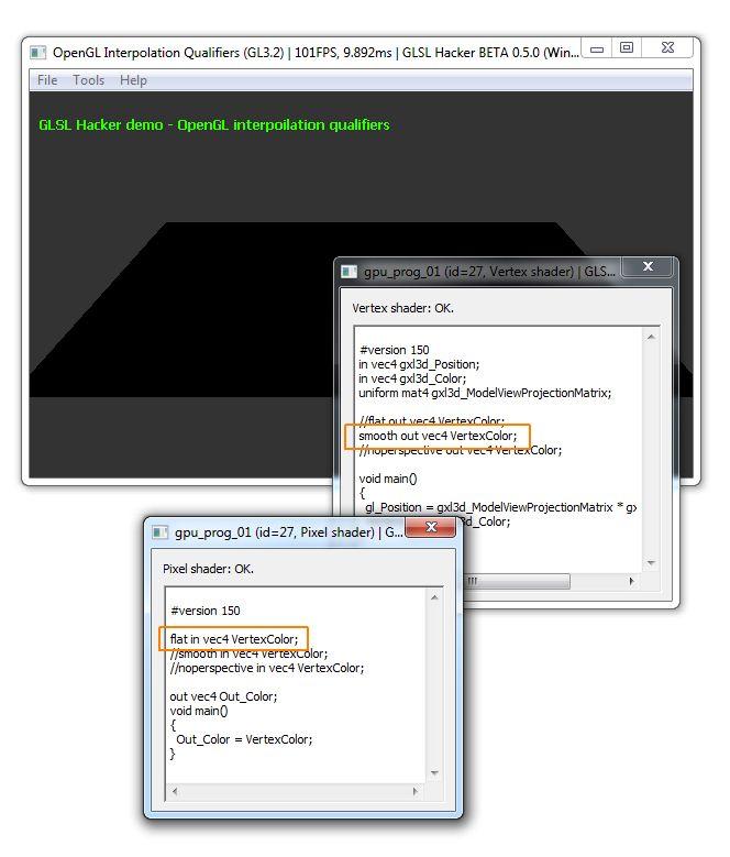 GLSL Hacker - OpenGL 3.2 interpolation qualifiers mismatch, Windows + GTX 660