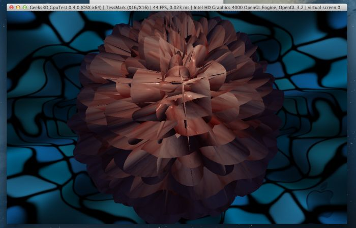 GpuTest 0.4.0, OpenGL 4 tessellation on Mac OS X, Intel HD Graphics 4000