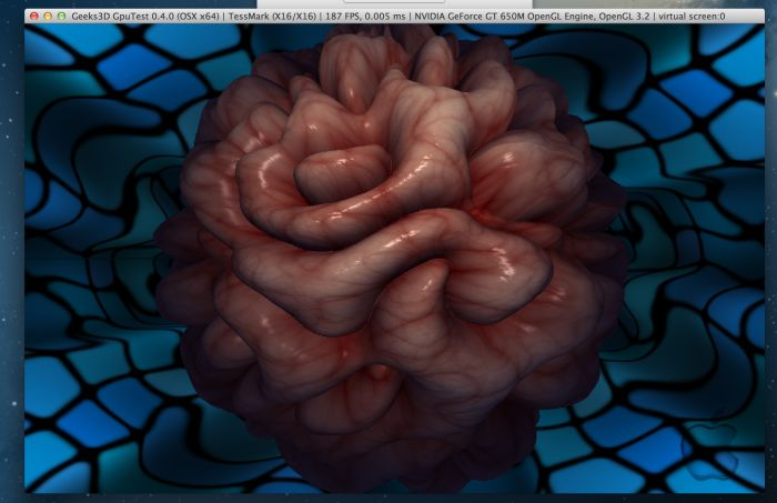 GpuTest 0.4.0, OpenGL 4 tessellation on Mac OS X, NVIDIA GeForce GT 650M