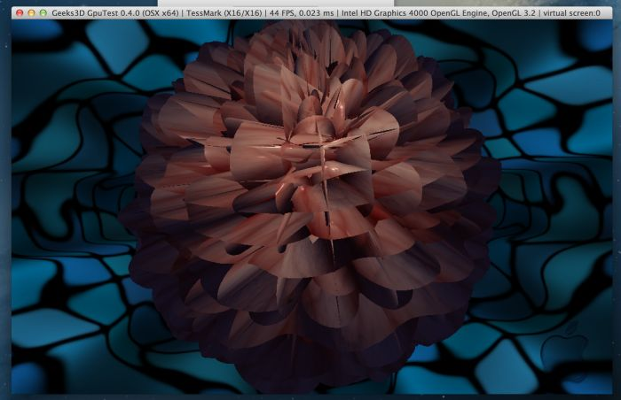 GpuTest 0.4.0: TessMark, OpenGL 4 under Mac OSX, Intel HD Graphics 4000