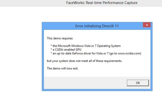 NVIDIA FaceWorks demo - Error with AMD Radeon card