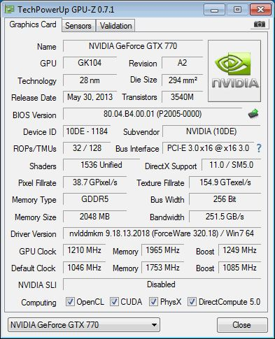 NVIDIA GeForce GTX 770, GPU-Z
