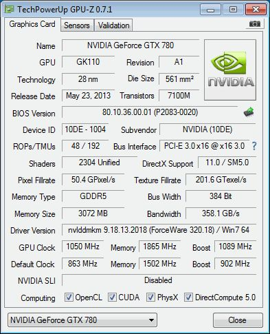NVIDIA GeForce GTX 780, GPU-Z