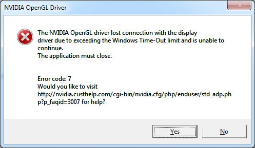 NVIDIA OpenGL driver lost connection message box