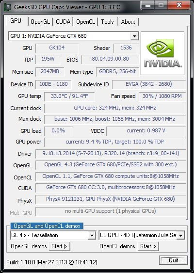 NVIDIA R320.14 graphics driver, GeForce GTX 680, GPU Caps Viewer