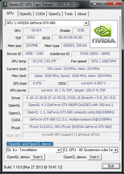NVIDIA R320.18 graphics driver, GeForce GTX 680, GPU Caps Viewer