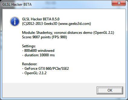 GLSL Hacker benchmark score