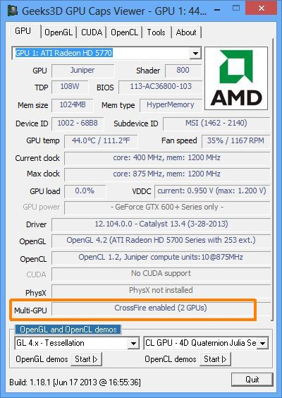 GPU Caps Viewer 1.18.1, AMD Radeon CrossFire support