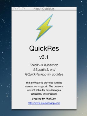 QuickRes app for Mac OSX
