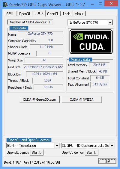 ASUS GeForce GTX 770 DirectCU II OC, GPU Caps Viewer, CUDA