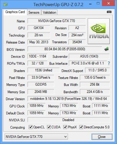 ASUS GeForce GTX 770 DirectCU II OC, GPU-Z
