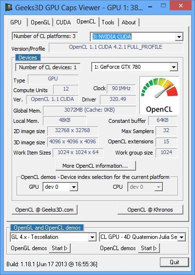 EVGA GeForce GTX 780, OpenCL features