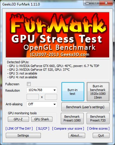 FurMark main user interface