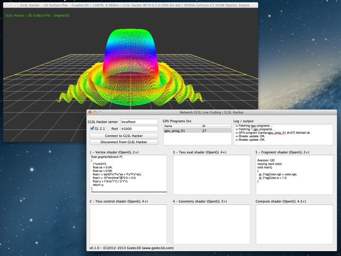 GLSL Hacker, Live coding of 3D surfaces plots