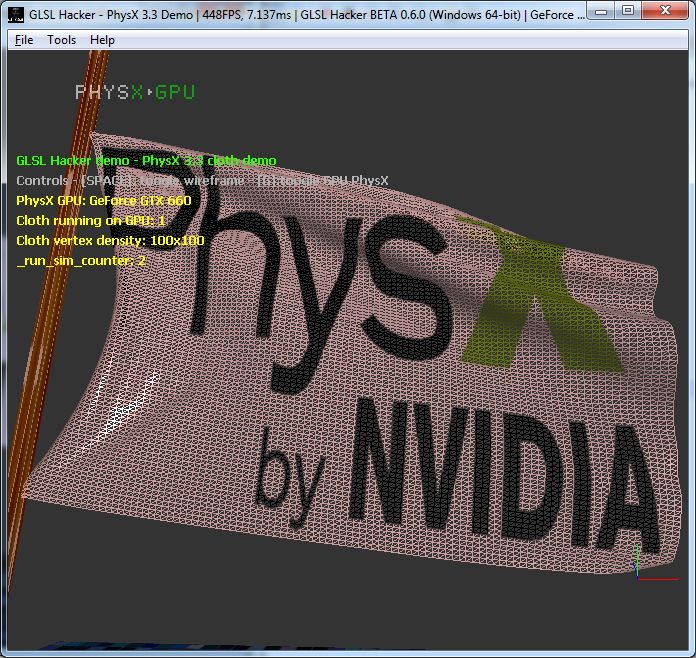 PhysX SDK 3.3 beta 2 - cloth module works fine on GPU