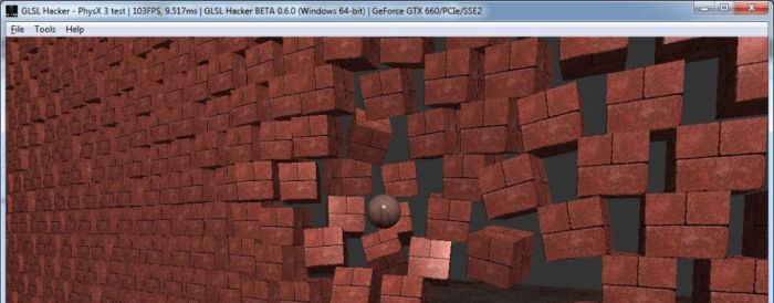 PhysX 3 rigid body test with GLSL Hacker