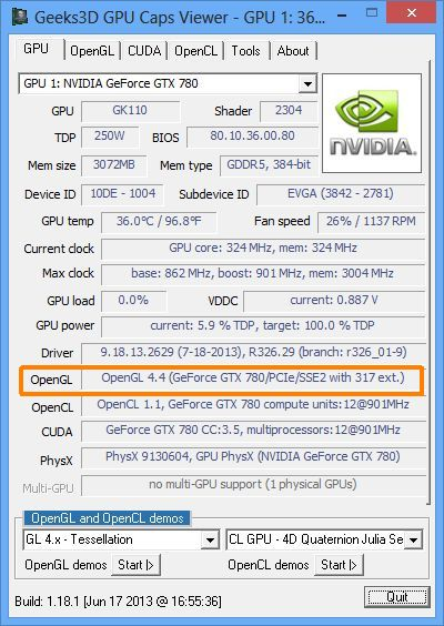 NVIDIA R326.29, OpenGL 4.4 driver, GPU Caps Viewer