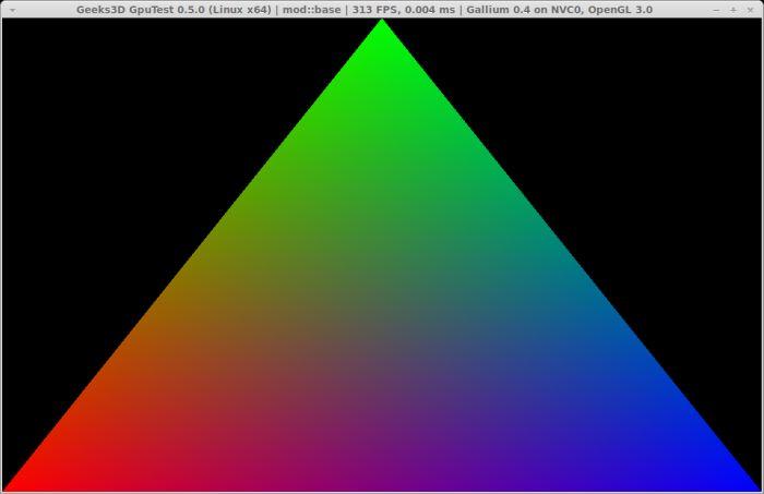 GpuTest 0.5.0 + Linux Mesa Gallium3D NVC0 renderer