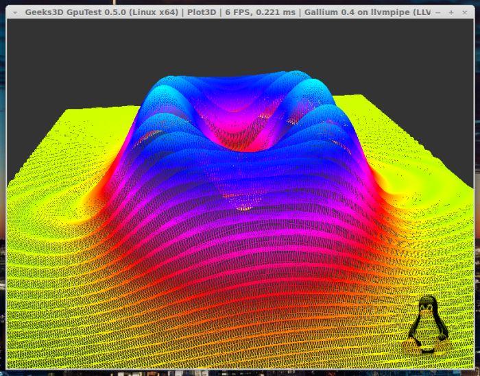 GpuTest 0.5.0 + Linux Mesa Gallium3D LLVMpipe renderer
