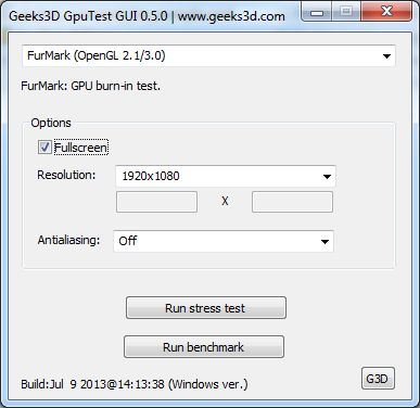 GpuTest benchmark settings